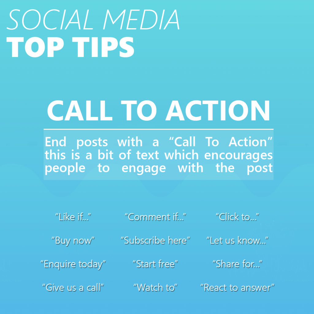 an infographic by assured marketing giving tips on the best call to actions for social media