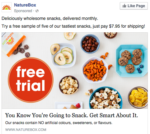 example of a well optimised ad creative from NatureBox