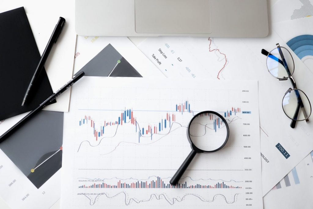 image of graphs being analysed representing data analysis